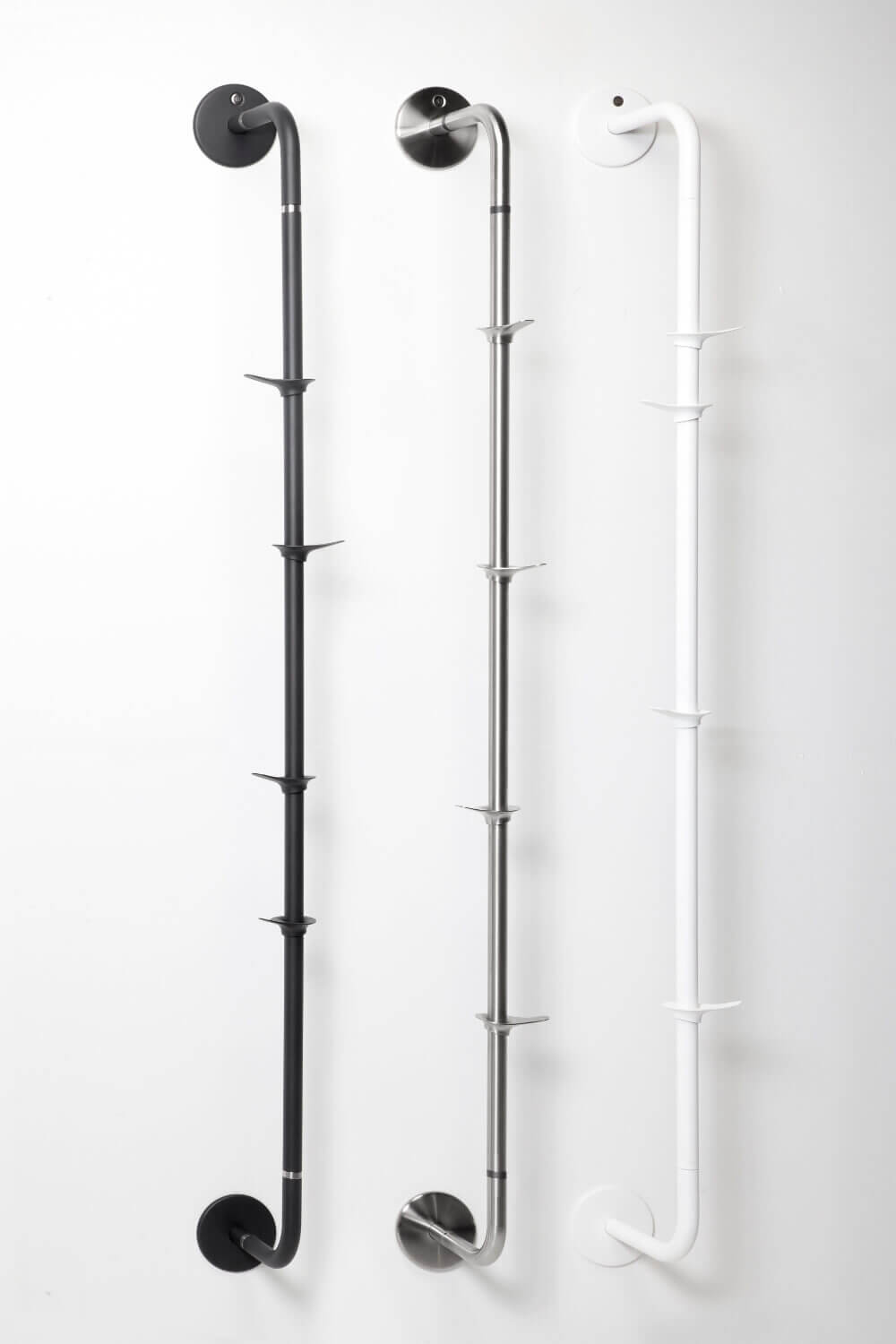 RiZZ fixed coat rack the wall vertical stainless steel anthracite white Teun Fleskens