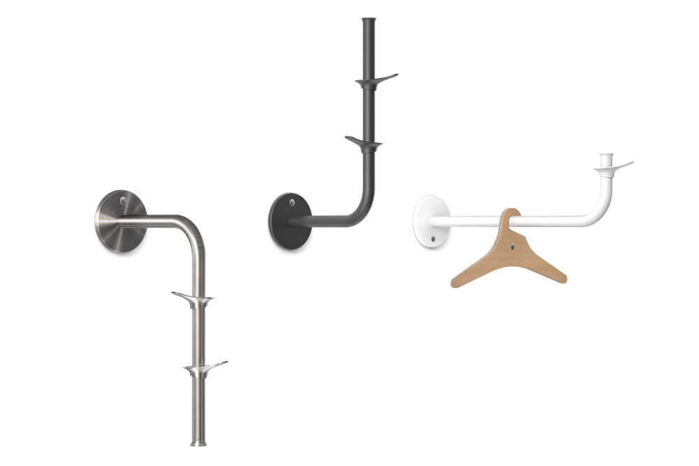 Fixed coat rack the curve anthracite stainless steel white Teun Fleskens