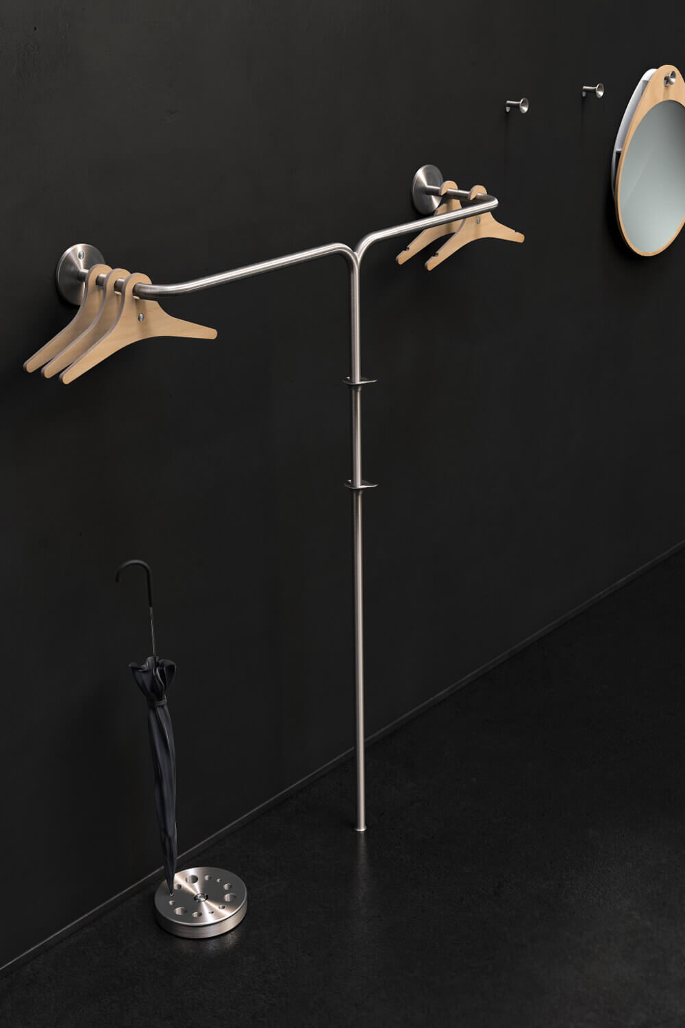 Fixed coat rack hybrid vine 4 stainless steel Teun Fleskens